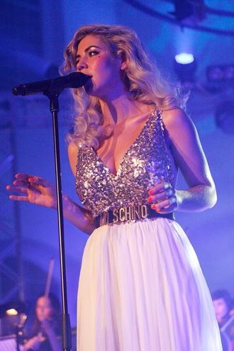 dress electra heart mochino similar clothing white dress sparkle gold sparkle gold sparkle top long white skirt singer marina and the diamonds