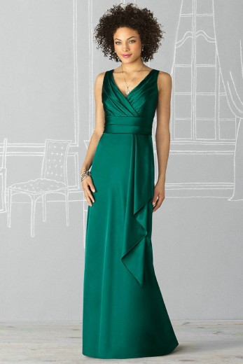Buy Gorgeous Sheath V-neck Ruched Satin Green Bridesmaid Dresses Online Sale  Default Category under $106.99 only in DressesTime.