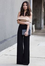 pants,beige off shoulder top,black flared trousers,black handbag,blogger