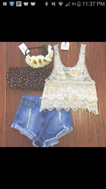 tank top shorts bandeau hair accessory