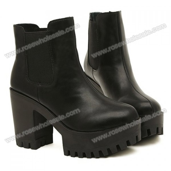 Wholesale Trendy Women's Short Boots With Platform and PU Leather Design (BLACK,39), Boots - Rosewholesale.com