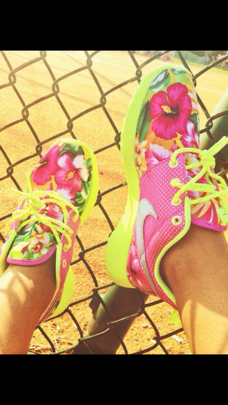shoes nike floral print roshe run tennis flowers tennis shoes yellow neon roshe runs nikes nike roshes floral