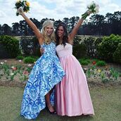 dress,sherri hill,high low dress,strapless,prom dress,blue dress,printed dress