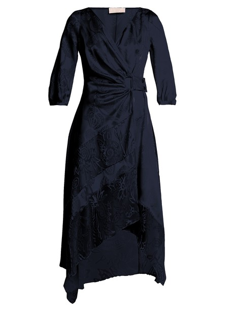 dress wrap dress jacquard floral satin navy print