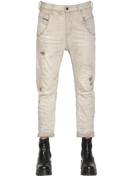 DIESEL Fayza Destroyed Cotton Denim Jeans in grey