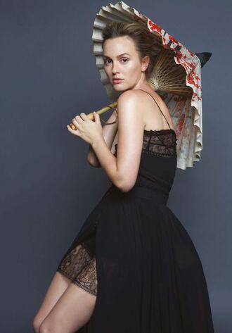 dress leighton meester editorial black dress
