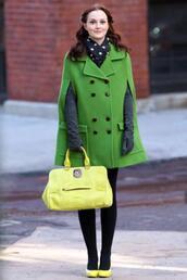 coat,green dress,gossip girl,blair waldorf,colorblock,neon,green,poncho