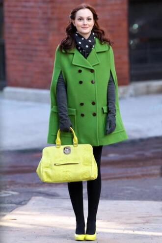 coat green dress gossip girl blair waldorf colorblock neon green poncho