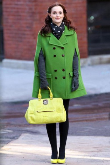 gossip girl blair waldorf coat green dress color block neon green