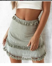skirt,girly,girl,girly wishlist,green,cute,mini,mini skirt,tassel