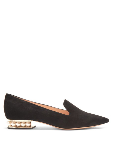 Nicholas Kirkwood pearl loafers suede black shoes