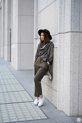 kryzuy blogger hat cardigan high waisted pants khaki pants