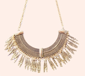 jewels bib necklace gold pocahontas