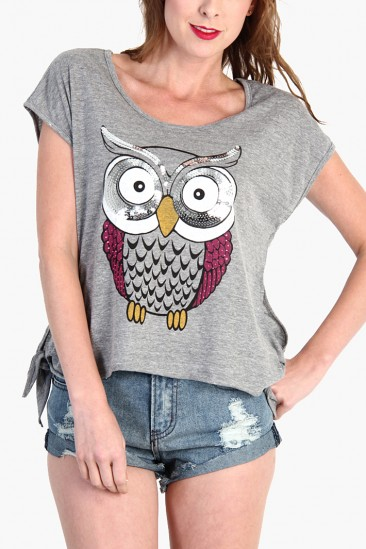 OMG Owl Sequin Side Bow Top - Gray