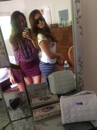 skirt blouse jewels white ring sunglasses purple dress cuff