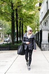 bows&sequins,blogger,jacket,sweater,hat,shoes