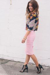 the day book,shoes,skirt,t-shirt,jacket,jewels,pink skirt,pastel skirt,pencil skirt,tight,midi skirt,blouse
