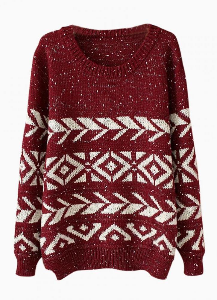Wine red & white geometric print sweater