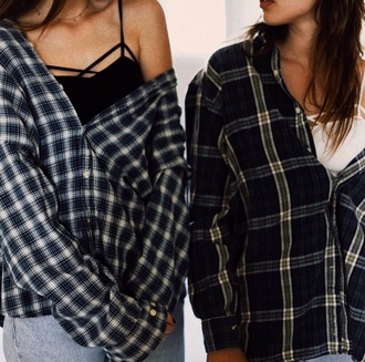 shirt plaid shirt grunge top grunge t-shirt