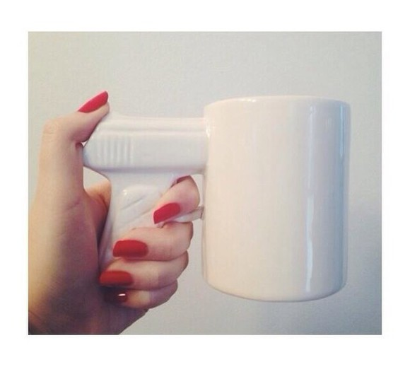 white bag gun coffee cup