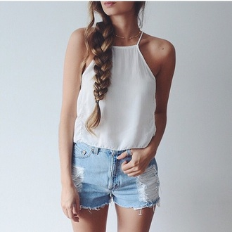 top denim necklace white top tank top white tank top shorts denim shorts gold necklace summer outfits outfit shirt