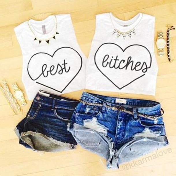 shirt bff singlet bff shorts white best bitches best bitch shirt tank top heart t-shirt matching set cute stylish fashion black and white jelwery pretty dope denim jewels tank top top bff bethany sassy funny badass amazing flawless cotton bff t-shirt bff bff shirts necklace twin skirt best bitches bff bf blouse