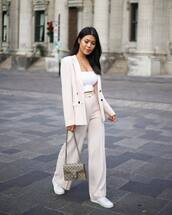 jacket,blazer,wide-leg pants,high waisted pants,white crop tops,white sneakers,shoulder bag,pants,double breasted,gucci bag,white top,crop tops