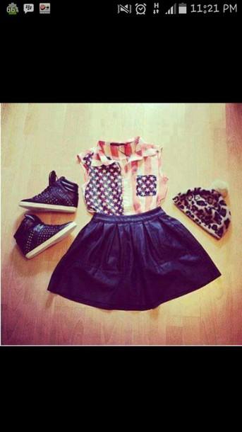 t-shirt shoes hat skirt