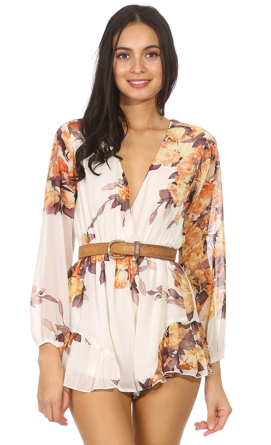 "Chic ""autumn leaves"" flowers print romper – glamzelle"