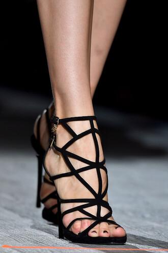 zipper high heels straps runway