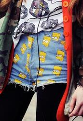 jeans,the simpsons,grunge,grungey,shorts,bart simpson