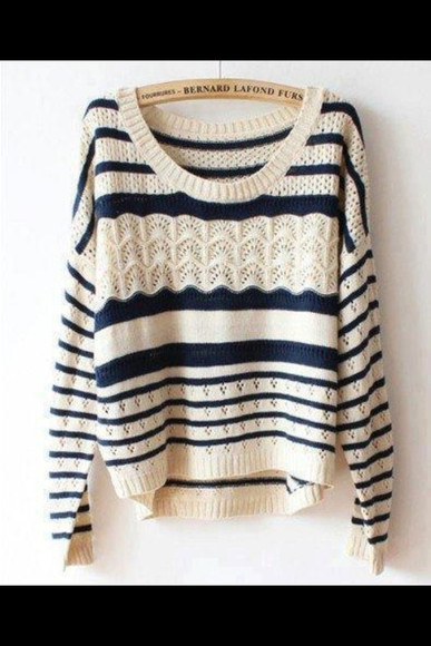 sweater blue and white striped striped mariniere