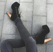 jeffrey campbell,high heels,tights,shoes,lace up heels,heels,platform high heels,cute shoes,on point clothing,lace up ankle boots,black ankle boots,ankle boots,high heel ankle boots,black shoes,black boots,style,girly,vintage,cute,clothes,hipster,women,gorgeous,fashionista,black heels,boots,lace up,platform lace up boots