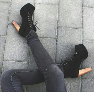 shoes on point clothing lace up ankle boots black ankle boots ankle boots high heel ankle boots black shoes black boots style girly vintage cute clothes hipster women gorgeous fashionista