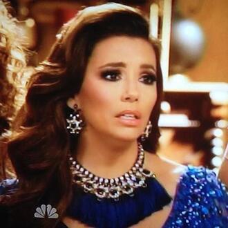 jewels eva longoria anna sofia anna sophia blue tassel pretty big necklace statement telenovela necklace