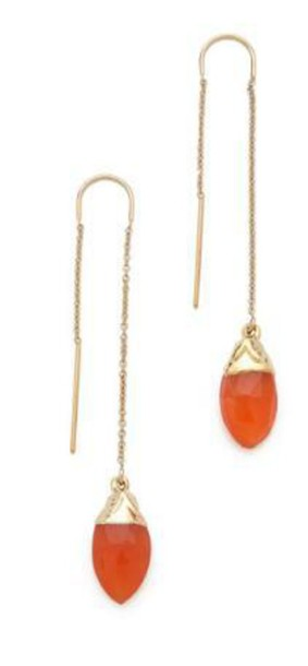 jewels orange teardrop earrings stone