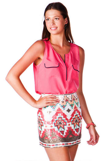 Etowah geometric sequin skirt
