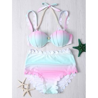 swimwear bikini beach summer blue pink girly shell mermaid rose wholesale