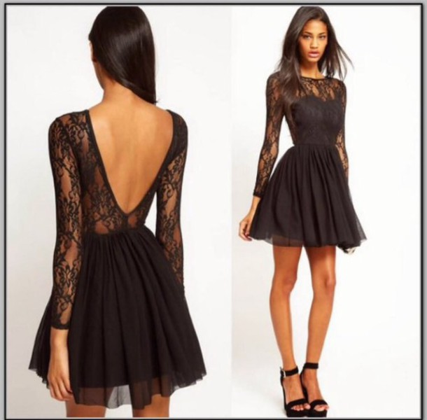 Dress: black, black dress, lace, lace dress, long sleeves, short ...