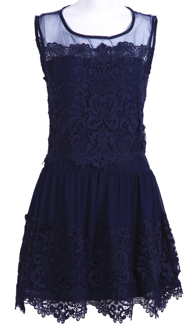 Sleeveless Embroidery Pleated Lace Dress - Sheinside.com Mobile Site