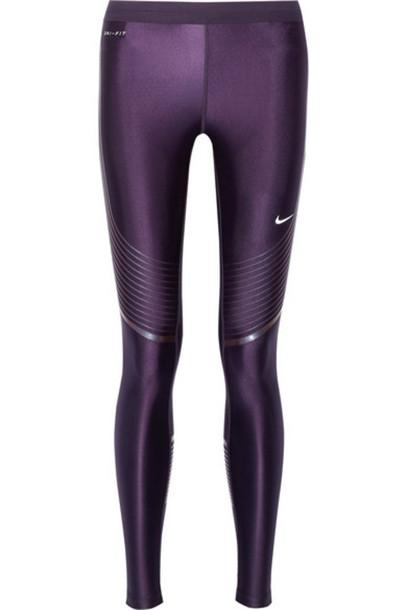 42666b788eb67 Nike - Power Speed Stretch-jersey Leggings - Dark purple - Wheretoget