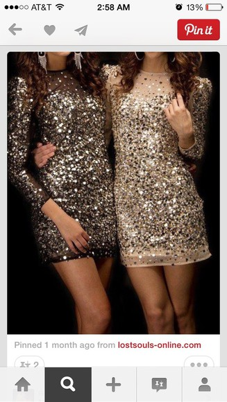 dress sparkling dress sequin dress bag gold sequins long sleeve dress