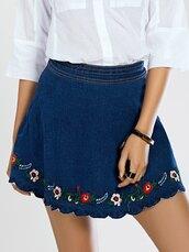 skirt,scalloped skirt,embroidered skirt,embroidered,scalloped,blue skirt,mini skirt,denim skirt,bracelets,ring