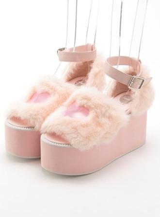shoes fairy kei kawaii harajuku flatforms platform shoes furry heels