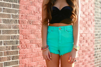 shirt black bustier cropped shorts bright blouse bra bustier black sleeveless clothes turqoise teal turqoise shorts high waisted crop tops crop hipster high waisted shorts cute t-shirt fashion light blue corset top bracelets tank top aqua blue summer colors long hair brunette summer tanned girl