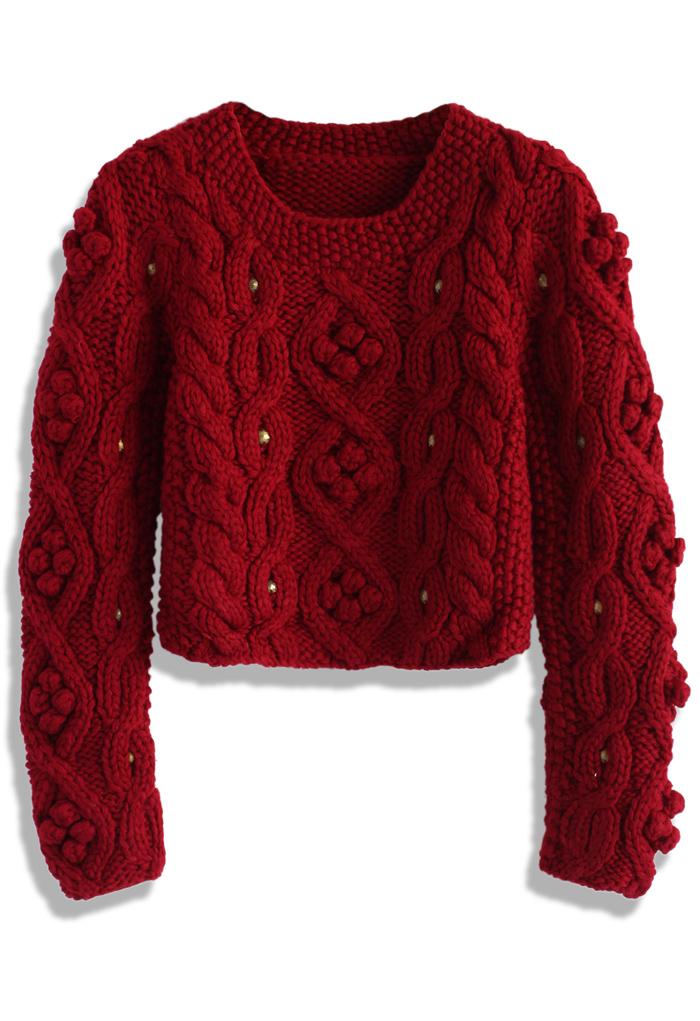 Retro cozy up woolen sweater in wine