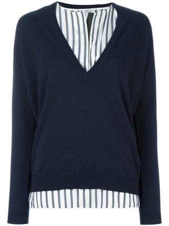 pullover women layered blue silk sweater