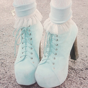 shoes,heels,blues,blue,cute,boots,laces,tumblr,pastel,pumps,turquoise,baby blue sandal,high heels,ankle boots,socks,platform shoes,platform lace up boots,beautiful high heels,blue high heels,cute high heels,pastel blue,light blue,girly,tights