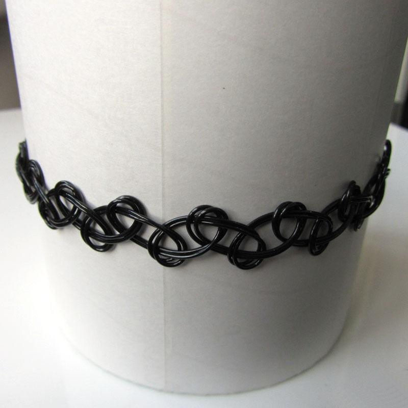 Handmade 80s Vintage 2 Layer Thin Black Magic Tattoo Choker Necklace Bangle Set