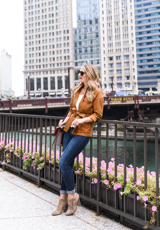 visions of vogue blogger jacket top jeans shoes sunglasses jewels bag ankle boots yellow jacket fall outfits